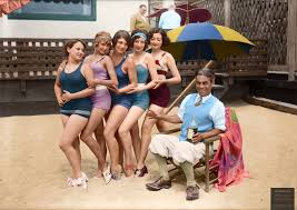 hollywood songwriter harry carroll with chorus girls at his beach