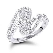 womens diamond rings luxurman unique womens diamond rings 14k gold 2 cluster diamond