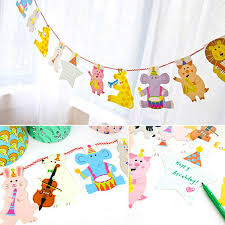 baby shower paper 15pcs pack 2m happy family baby shower animal garland
