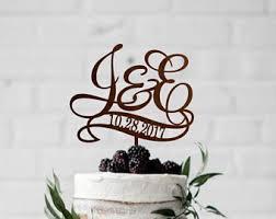 rustic monogram cake topper initials cake topper etsy