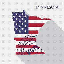 State Of Mn Map by State Of Minnesota Map With Flag And Presidential Day Vote Stamp
