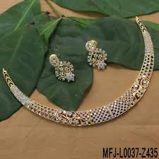 stone necklace set designs images Cz stones flowers design gold plated finish choker necklace set jpg