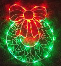 led outdoor lighted door wreath bow sign window yard