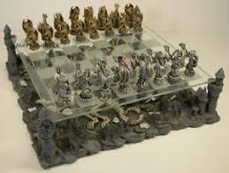 fantasy chess set pewter metal medieval times dragon fantasy gothic chess set w