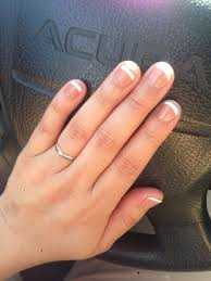 gel manicure with a base color and white tips kelly was a