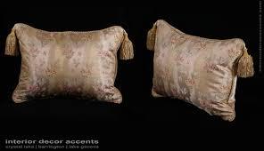 Designer Throw Pillows For Sofa by Silk Lampas In Gold With Lee Jofa Velvet Designer Pillows