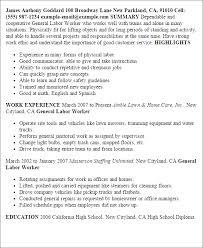 Examples Of General Resumes by General Laborer Resume Uxhandy Com