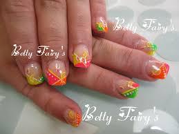 photo ongles gel french fluo orange jaune vert et rose gel féerique jusqu u0027au