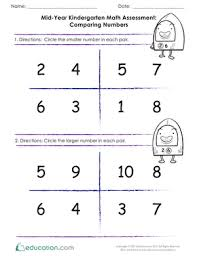 mid year math assessment comparing numbers worksheet