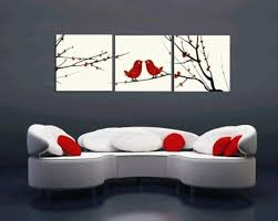 Home Decoration Paintings Gallery Canvas Art 3 Panels Red Love Birds Picture Home Decoration