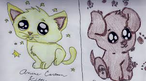 drawn kittens cute puppy pencil and in color drawn kittens cute