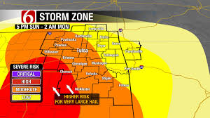 Map Of Tulsa Severe Weather Sunday With Continued Threat Later This Week
