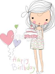 girl birthday sweet girl with birthday cake vector thinkstock