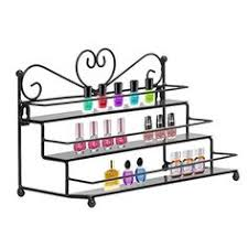 white wrought iron hanging nail polish shelf wall rack storage