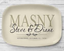 engraved platter wedding gift personalized serving tray ivory family name platter