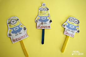 minion crafts for kids stick puppets mess for less
