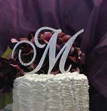 l cake topper monogram cake topper 5 swarovski wedding cake topper