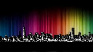 Colorful City Colorful City Silhouette Hd Wallpaper 1920x1080 Id 46982