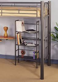 metal contemporary twin loft bed w desk u0026 bookcase