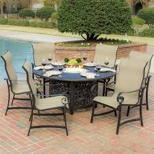 Patio Furniture With Fire Pit Set - la salle 7 piece sling patio dining set with fire pit table by