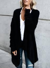 womens black cardigan sweater s solid open front irregular cardigan sweater azbro com