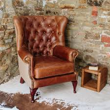 vintage leather chesterfield sofa tudor leather armchair with chesterfield style button back detail