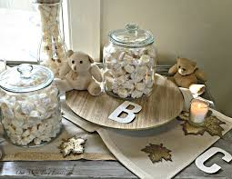 teddy centerpieces for baby shower neutral rustic fall patchwork teddy baby shower one more