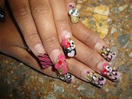3d hello kitty black and pink cheetah hearts nail art archive