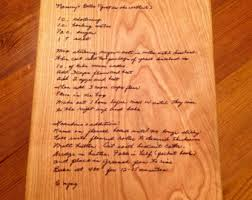 cutting board with recipe engraved handwritten engraved cutting board personalized bamboo