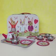 bunny tea set bunny rabbit tin tea set in carry posh totty designs