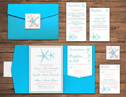 starfish wedding invitations wedding pocketfold invitation suite starfish wedding