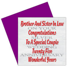 Silver Anniversary Invitation Cards Brother U0026 Sister In Law 25th Wedding Anniversary Card Silver