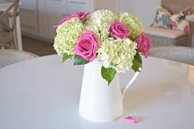 pitcher of roses pink roses baby white hydrangeas boquet white pitcher zdesign at home