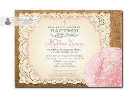 lace burlap baptism invitation rose baby pink cross