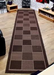 Modern Hallway Rugs Checkered Brown Or Wide Hallway