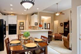 Small Open Kitchen Design Dark Finished Wooden Dining Table Set For Open Kitchen Design For
