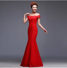aliexpress com buy red lace bridesmaid dress mermaid boat neck