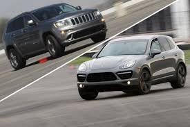 turbo jeep srt8 track tested 2012 jeep grand cherokee srt8 vs 2011 porsche cayenne