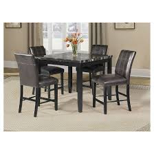 Blythe Counter Height Dining Table Faux Marble And Black Acme - Counter height dining table in black