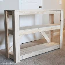 entry way table diy wooden console entryway table shelterness