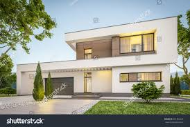 residential house 3d rendering modern cozy house garage stock illustration 691354642