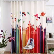 Childrens Room Curtains Colorful Pencil Painting Pattern Poly Cotton Blackout Curtain For