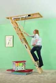 attic ladder steps stairs wood ceiling pull down door garage