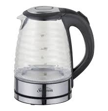 sunbeam 1 7l ribbed glass kettle black and clear lowest prices