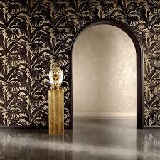 versace giungla palm leaves luxury metallic wallpaper black gold