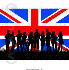 silhouette clipart of a group of many british teenagers