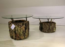 furniture awesome old tree stump coffee table with round glass