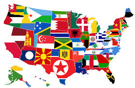 Map Of The 50 United States by It Shows Each Us State Covered By The Flag Of A Country With A