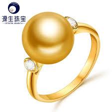 golden pearl rings images Ys modern design 18k gold ring 10 11mm natrual golden south sea jpg