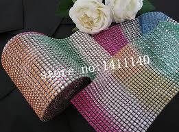 mesh ribbon wholesale free shipping 5 yard x4 5 inch rainbow color bling diamond mesh